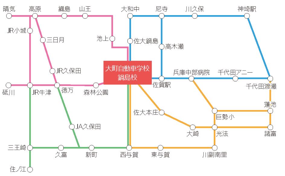鍋島校までの送迎バス路線図